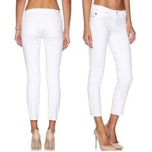AG The Stilt Crop Cigarette Crop White Jeans